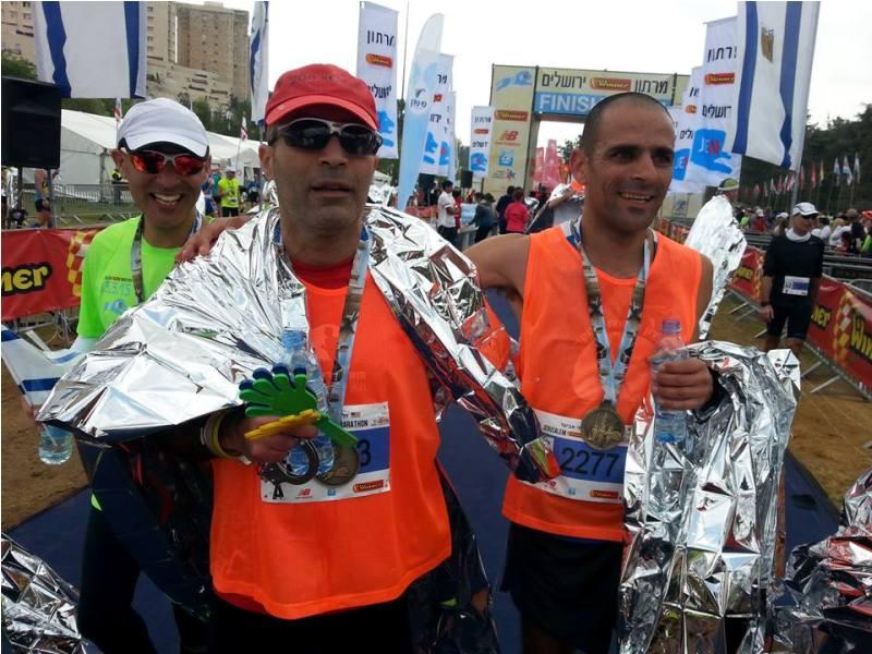 גיא זלוף בסיום מרתון ירושלים